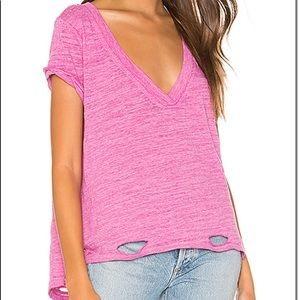 FREE PEOPLE V-NECK DISTRESSED KNIT T-SHIRT NWT